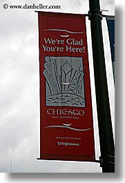 america, banners, chicago, illinois, north america, signs, united states, vertical, photograph