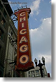 america, chicago, illinois, lights, north america, signs, united states, vertical, photograph