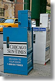 america, chicago, illinois, newsbox, north america, signs, times, united states, vertical, photograph