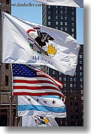 america, chicago, flags, illinois, north america, signs, united states, vertical, photograph