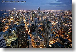 america, chicago, cityscapes, horizontal, illinois, nite, north america, slow exposure, united states, photograph