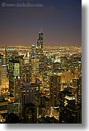 america, chicago, cityscapes, illinois, long exposure, nite, north america, sears, towers, united states, vertical, photograph