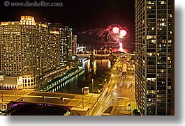 america, buildings, chicago, cityscapes, fireworks, horizontal, illinois, nite, north america, slow exposure, streets, united states, wacker, photograph