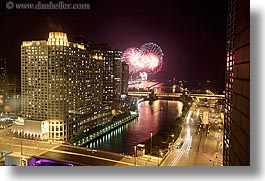 america, buildings, chicago, cityscapes, fireworks, horizontal, illinois, long exposure, nite, north america, streets, united states, wacker, photograph