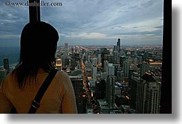 america, chicago, cityscapes, horizontal, illinois, nite, north america, united states, viewing, womens, photograph