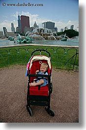 america, babies, boys, chicago, fountains, hellers, illinois, jacks, millenium, north america, people, stroller, united states, vertical, photograph