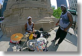 america, chicago, clarinet, drums, fisheye lens, horizontal, illinois, men, music, north america, people, united states, photograph