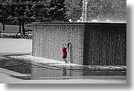 america, b&w/color, chicago, childrens, fountains, girls, horizontal, illinois, north america, people, red, united states, photograph