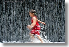 america, chicago, childrens, fountains, girls, horizontal, illinois, north america, people, red, united states, photograph