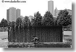 america, black and white, chicago, fountains, horizontal, illinois, kid, north america, people, united states, photograph