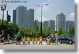 america, chicago, childrens, crossing, horizontal, illinois, north america, people, streets, united states, photograph