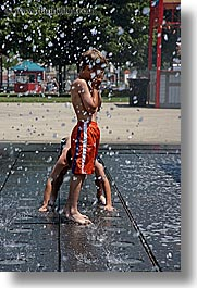 america, boys, chicago, childrens, fountains, illinois, north america, people, united states, vertical, photograph