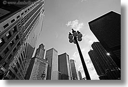 america, black and white, chicago, cityscapes, horizontal, illinois, lamp posts, north america, streets, united states, photograph