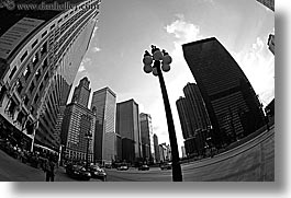 america, black and white, chicago, cityscapes, fisheye lens, horizontal, illinois, lamp posts, north america, streets, united states, photograph