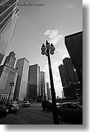 america, black and white, chicago, cityscapes, illinois, lamp posts, north america, streets, united states, vertical, photograph