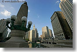 america, chicago, cityscapes, horizontal, illinois, lamp posts, north america, streets, united states, photograph