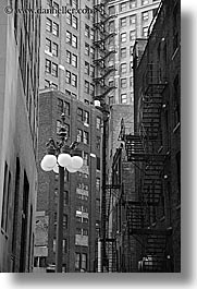 america, black and white, buildings, chicago, illinois, lamp posts, north america, streets, united states, vertical, photograph