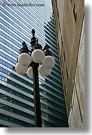 america, buildings, chicago, illinois, lamp posts, north america, streets, united states, vertical, photograph