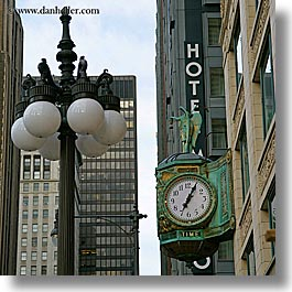 america, chicago, clocks, illinois, lamp posts, north america, square format, streets, united states, photograph