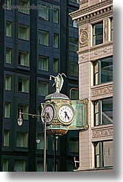 america, chicago, clocks, illinois, lamp posts, north america, streets, united states, vertical, photograph