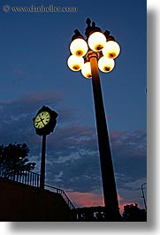 america, chicago, clocks, dusk, illinois, lamp posts, north america, streets, sunsets, united states, vertical, photograph