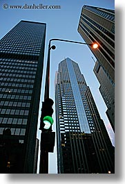 america, buildings, chicago, illinois, lamp posts, lmap, north america, skyscrapers, streetlight, streets, traffic signal, united states, vertical, photograph