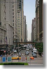 america, buildings, chicago, illinois, north america, streets, traffic, united states, vertical, photograph