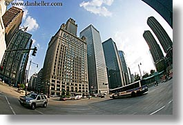 america, buildings, bus, cars, chicago, cityscapes, fisheye lens, horizontal, illinois, north america, streets, traffic, united states, photograph