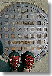 america, chicago, illinois, manholes, north america, streets, united states, vertical, photograph