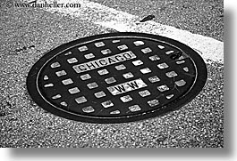 america, black and white, chicago, horizontal, illinois, manholes, north america, streets, united states, photograph