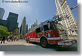 america, chicago, firetruck, horizontal, illinois, north america, streets, united states, photograph