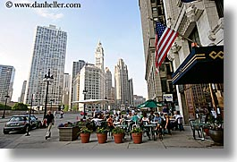 america, buildings, cafes, chicago, cityscapes, flags, horizontal, illinois, north america, sidewalks, streets, united states, photograph