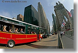 america, bus, chicago, fisheye lens, horizontal, illinois, north america, streets, tourists, united states, photograph