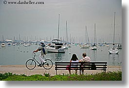 america, bicycles, boats, chicago, couples, cyclists, harbor, horizontal, illinois, north america, united states, water, water front, photograph
