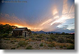 america, baker, clouds, horizontal, nevada, north america, shack, sunsets, united states, western usa, photograph