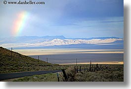 america, clouds, desert, fences, great basin natl park, high desert, horizontal, nevada, north america, rainbow, sky, united states, western usa, photograph