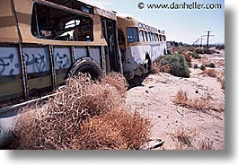 america, busses, highways, horizontal, junkyard, nevada, north america, united states, western usa, photograph