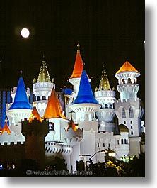 america, casino, excalibur, hotels, las vegas, moon, nevada, north america, the strip, united states, vertical, western usa, photograph