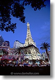 america, casino, dusk, hotels, las vegas, nevada, north america, paris, the strip, trees, united states, vertical, western usa, photograph