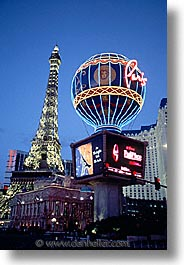 america, casino, dusk, hotels, las vegas, nevada, north america, paris, the strip, united states, vertical, western usa, photograph