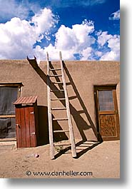america, desert southwest, houses, indian country, ladder, new mexico, north america, pueblos, southwest, united states, vertical, western usa, photograph
