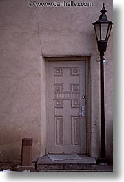 america, architectures, desert southwest, doors, indian country, lamps, new mexico, north america, santa fe, southwest, united states, vertical, western usa, photograph