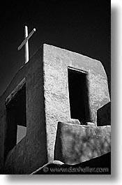 america, black and white, churches, desert southwest, indian country, new mexico, north america, santa fe, southwest, towers, united states, vertical, western usa, photograph