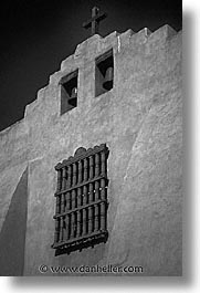 america, black and white, churches, desert southwest, indian country, new mexico, north america, santa fe, southwest, united states, vertical, western usa, windows, photograph