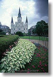 america, buildings, flowers, new orleans, north america, united states, vertical, photograph