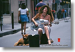 america, dogs, horizontal, musicians, new orleans, north america, united states, photograph