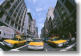 america, avenue, fifth, horizontal, new york, new york city, north america, streets, taxis, threes, united states, photograph