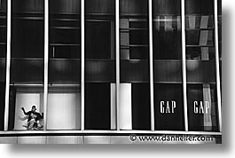 america, avenue, black and white, gap, horizontal, new york, new york city, north america, united states, wash, windows, photograph