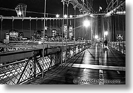 america, bicycles, black and white, bridge, brooklyn bridge, cities, horizontal, new york, new york city, nite, north america, united states, photograph