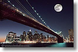 america, bridge, brooklyn, brooklyn bridge, horizontal, moon, new york, new york city, north america, united states, photograph